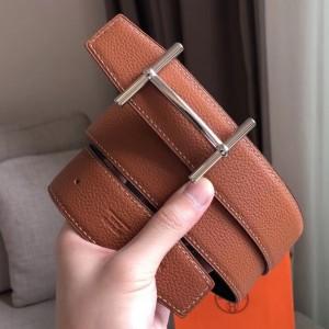 Hermes H d'Ancre Reversible Belt In Brown/Noir Leather
