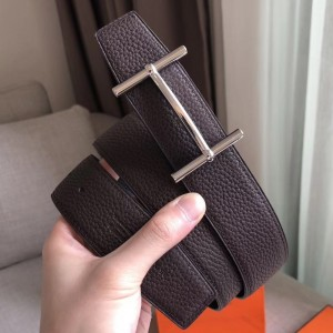 Hermes H d'Ancre Reversible Belt In Cafe/Noir Leather