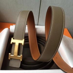 Hermes H Belt Buckle & Taupe Epsom 32 MM Strap