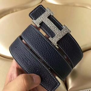 Hermes H Belt Buckle & Noir Clemence 32 MM Strap