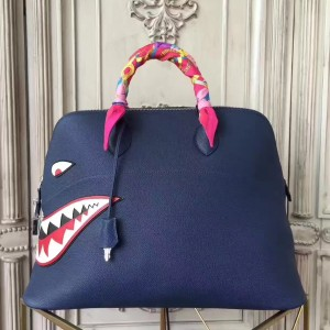 Hermes Shark Bolide 45cm Bag In Blue Calfskin