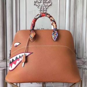 Hermes Shark Bolide 45cm Bag In Gold Calfskin