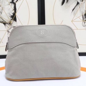 Hermes Medium Bolide Travel Case In Grey Cotton