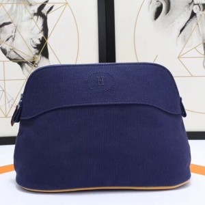 Hermes Medium Bolide Travel Case In Blue Electric Cotton