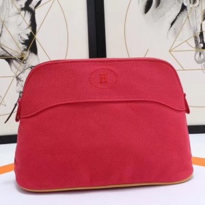 Hermes Medium Bolide Travel Case In Red Cotton