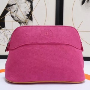 Hermes Medium Bolide Travel Case In Rose Red Cotton