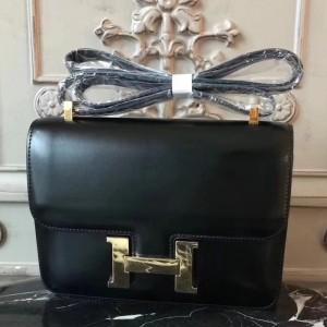 Hermes Black Constance MM 24cm Box Leather Bag