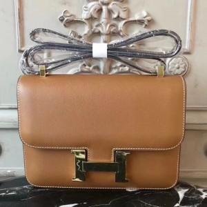 Hermes Brown Constance MM 24cm Epsom Leather Bag