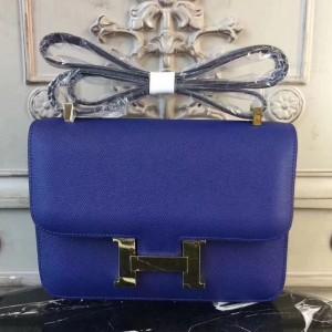 Hermes Blue Electric Constance MM 24cm Epsom Leather Bag