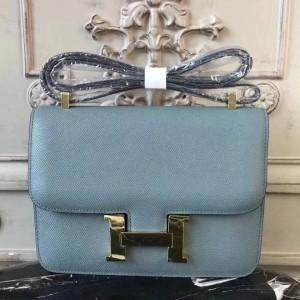 Hermes Blue Lin Constance MM 24cm Epsom Leather Bag