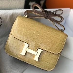 Hermes Constance 18cm Bag In Jaune Poussin Embossed Crocodile