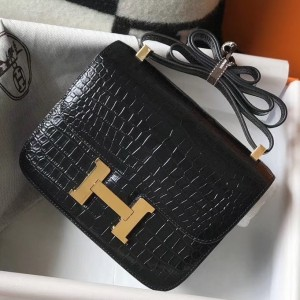 Hermes Constance 18cm Bag In Black Embossed Crocodile