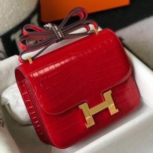 Hermes Constance 18cm Bag In Red Embossed Crocodile