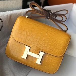 Hermes Constance 18cm Bag In Yellow Embossed Crocodile