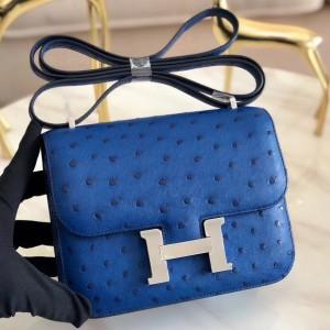 Hermes Mini Constance 18cm Blue Electric Ostrich Leather
