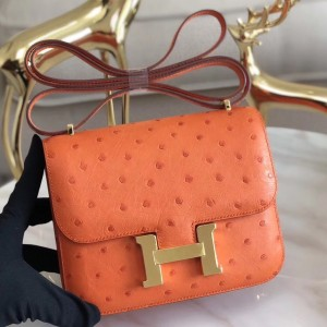 Hermes Mini Constance 18cm Orange Ostrich Leather