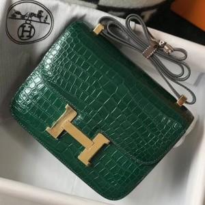 Hermes Constance 24cm Bag In Green Embossed Crocodile