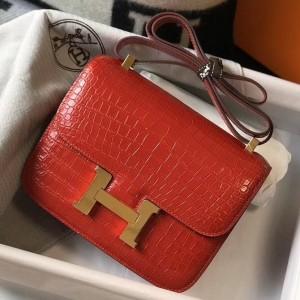 Hermes Constance 24cm Bag In Red Embossed Crocodile