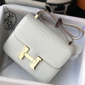 Hermes Constance 24cm Bag In White Embossed Crocodile