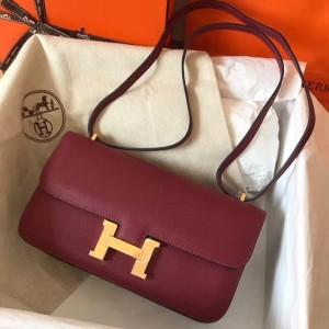 Hermes Bordeaux Epsom Constance Elan 25cm Bag