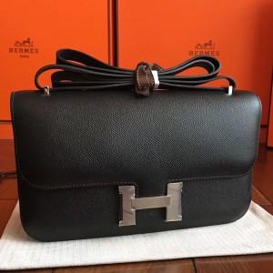 Hermes Black Epsom Constance Elan 25cm Bag