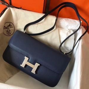 Hermes Blue Royale Epsom Constance Elan 25cm Bag