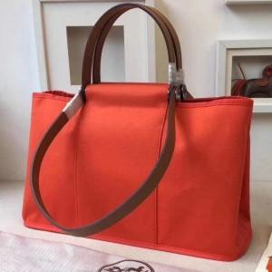 Hermes Cabag Elan Bag In Capucine Canvas