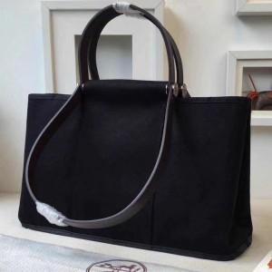 Hermes Cabag Elan Bag In Black Canvas