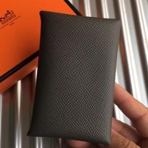 Hermes Vert Gris Epsom Calvi Card Holder