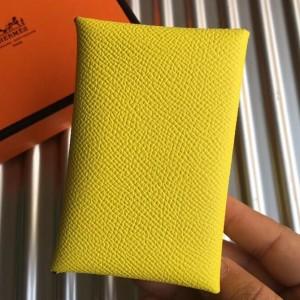 Hermes Yellow Epsom Calvi Card Holder