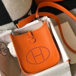 Hermes Evelyne III TPM Bag In Orange Clemence Leather