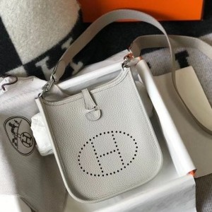 Hermes Evelyne III TPM Bag In Pearl Grey Clemence Leather