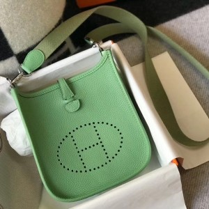 Hermes Evelyne III TPM Bag In Vert Criquet Clemence Leather
