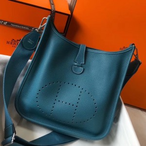 Hermes Evelyne III 29 Bag In Blue Jean Clemence Leather