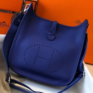 Hermes Evelyne III 29 Bag In Blue Electric Clemence Leather