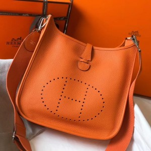 Hermes Evelyne III 29 Bag In Orange Clemence Leather