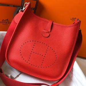 Hermes Evelyne III 29 Bag In Red Clemence Leather