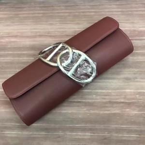 Hermes Handmade Egee Clutch In Havane Swift Leather