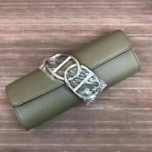 Hermes Handmade Egee Clutch In Khaki Swift Leather
