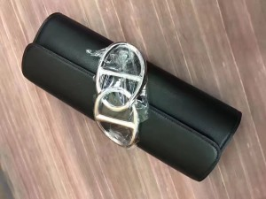 Hermes Handmade Egee Clutch In Black Swift Leather
