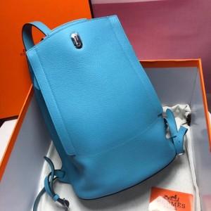 Hermes GR24 Backpack In Blue Everycolor Calfskin