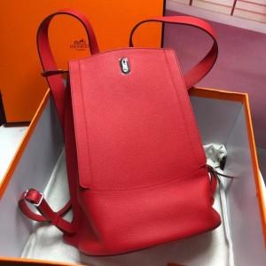 Hermes GR24 Backpack In Red Everycolor Calfskin