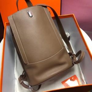 Hermes GR24 Backpack In Taupe Swift Calfskin