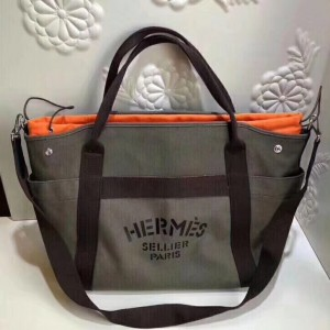 Hermes Khaki Functional Grooming Bag