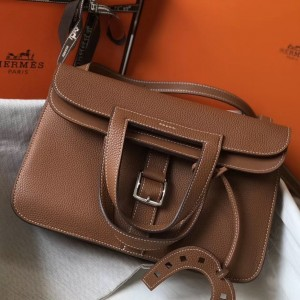 Hermes Halzan Bag In Brown Clemence Leather