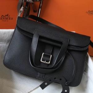 Hermes Halzan Bag In Black Clemence Leather
