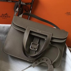 Hermes Halzan Bag In Etoupe Clemence Leather