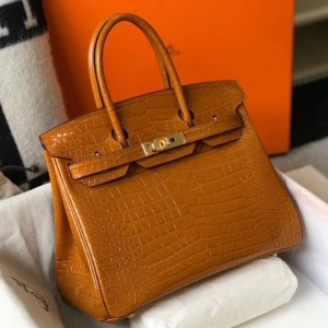 Hermes Birkin 25cm Bag In Gold Embossed Crocodile Leather