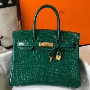 Hermes Birkin 30cm Bag In Green Embossed Crocodile Leather