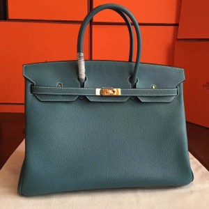 Hermes Blue Jean Clemence Birkin 40cm Handmade Bag